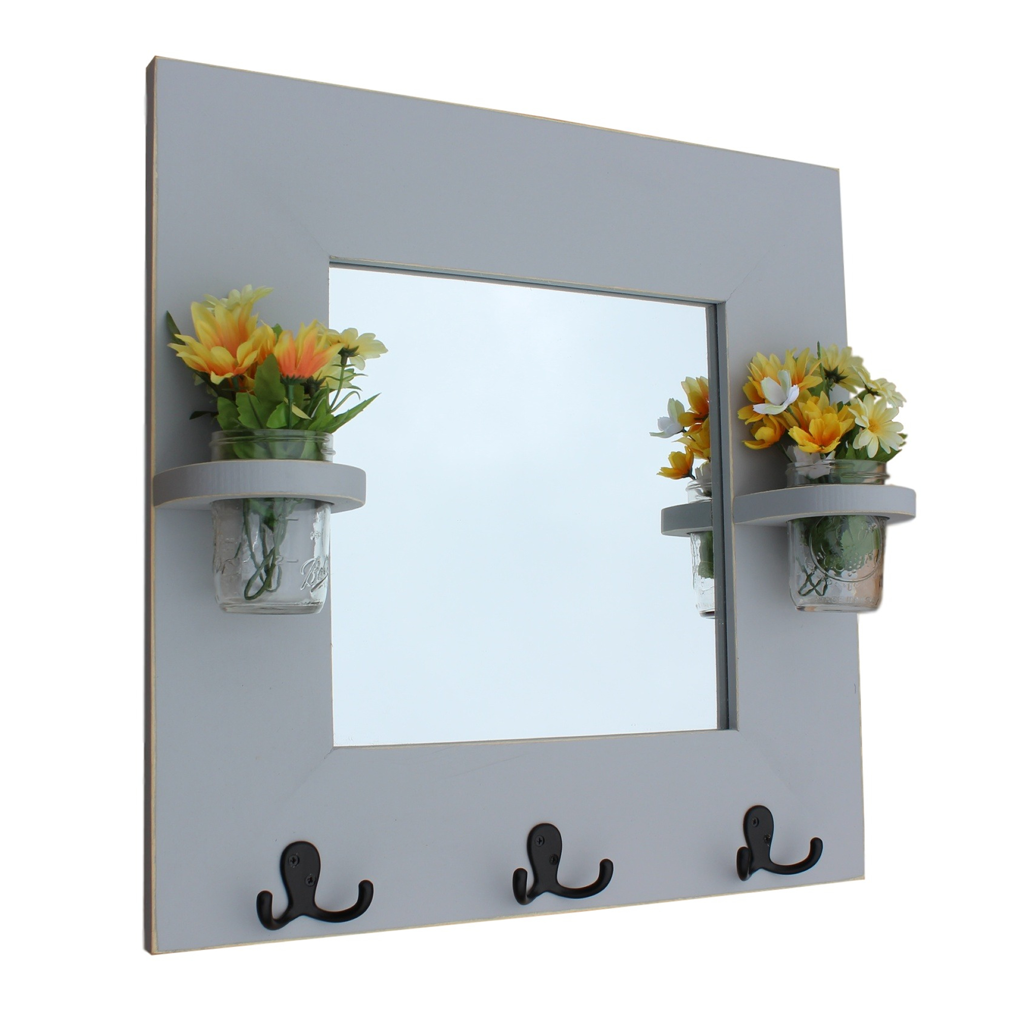 Mirror with Coat Hooks and Mason Jars