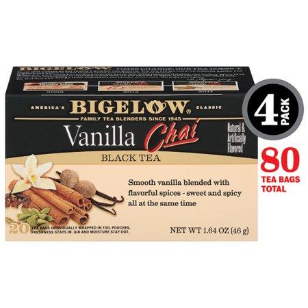Bigelow Vanilla Chai Black Tea, Tea Bags, 20 Ct (4 Boxes)