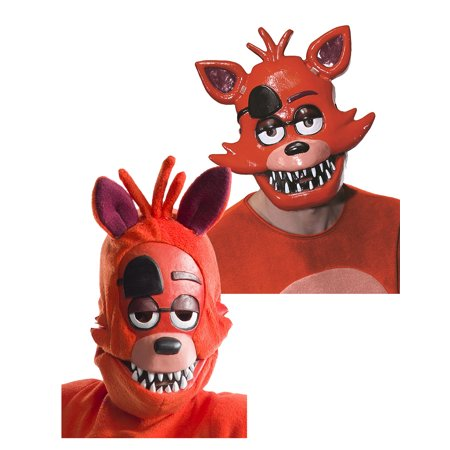 Five Nights at Freddy's Adult Foxy Half Mask and Child Foxy 3/4 Mask Bundle - Funny Mother Daughter Halloween Costumes