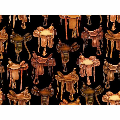 "Novelty Niche, Trailing West Saddles, Cotton, Black, 43/44"" Wide Fabric by the Yard"