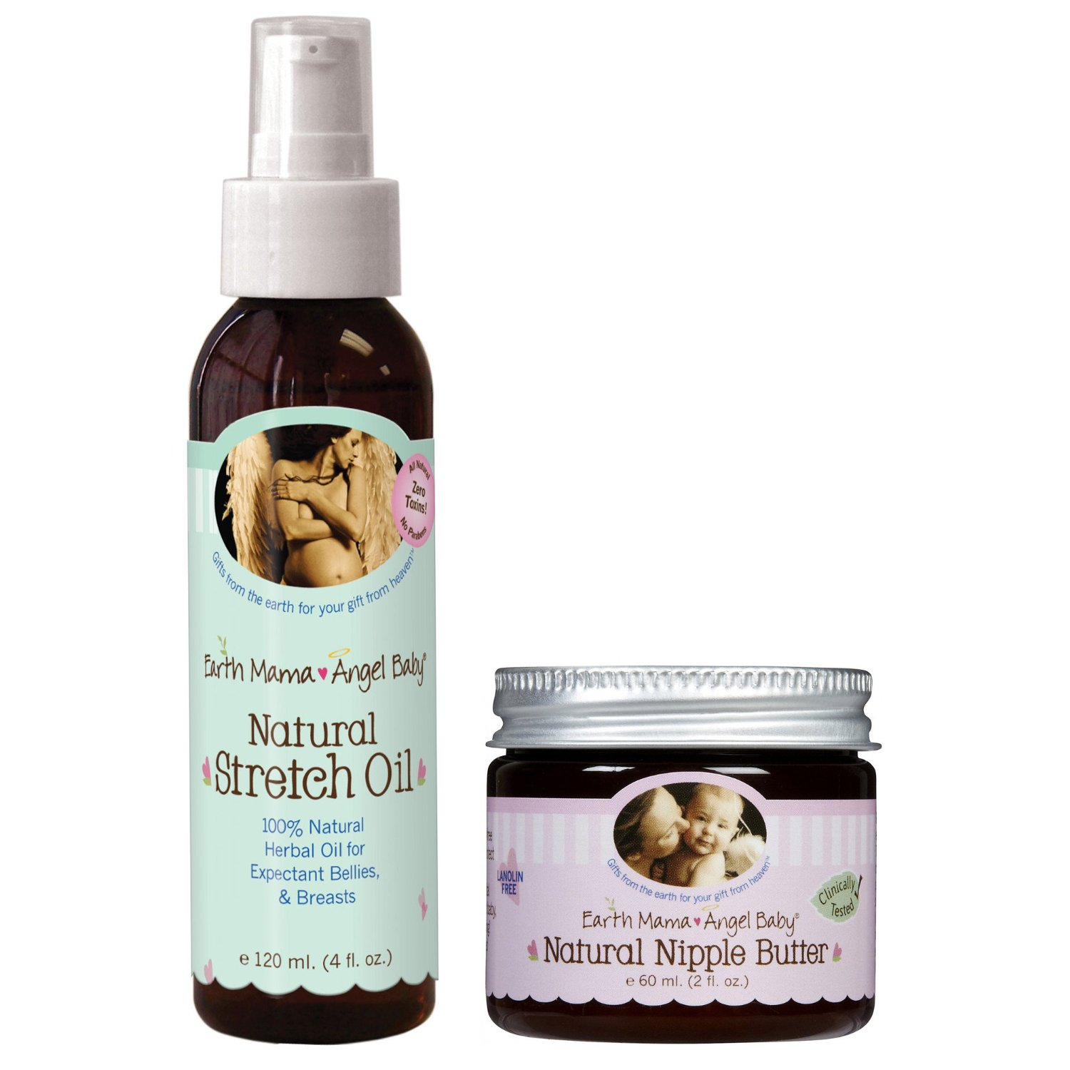 Earth Mama Angel Baby Natural Stretch Oil Pregnancy with Nipple Butter