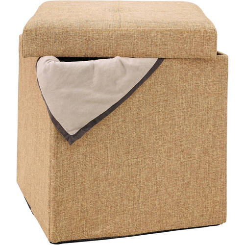 Single Folding Ottoman, Black