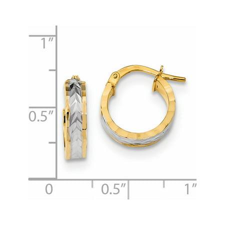 14k or jaune w / Boucles d'oreilles Rhodium et blanc Rhodium D / C et Hoop poli (13.3x14.6mm) - image 1 de 2