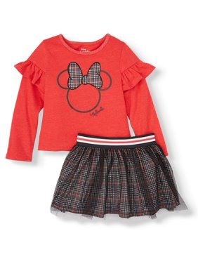 Minnie Mouse Long Sleeve Minnie Mouse Ruffle Top and Plaid Skirt, 2pc Outfit Set (Toddler Girls)