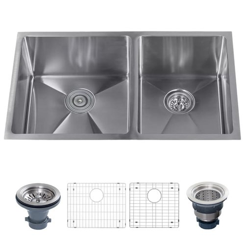 Miseno Stainless Steel 32'' L x 19'' W Double Basin Undermount Kitchen Sink with 60/40 Split