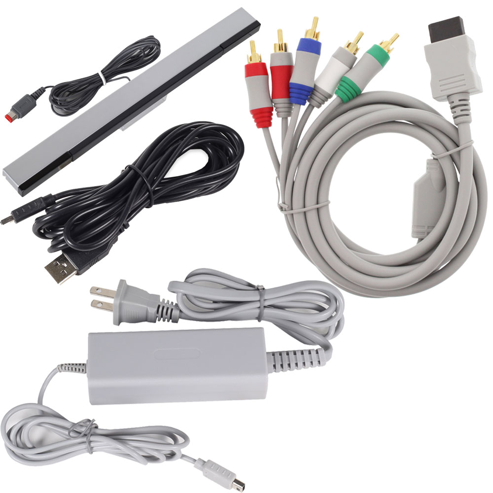 Bundle Nintendo Wii U Power Charging AC Adapter, 10FT Wii U USB Charge Cable, Wired Sensor Bar & AV Cable for HDTV/EDTV