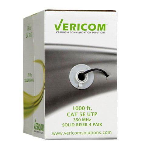 Vericom Cat5e UTP Solid Riser CMR Cable, 1,000' Pull Box, Black