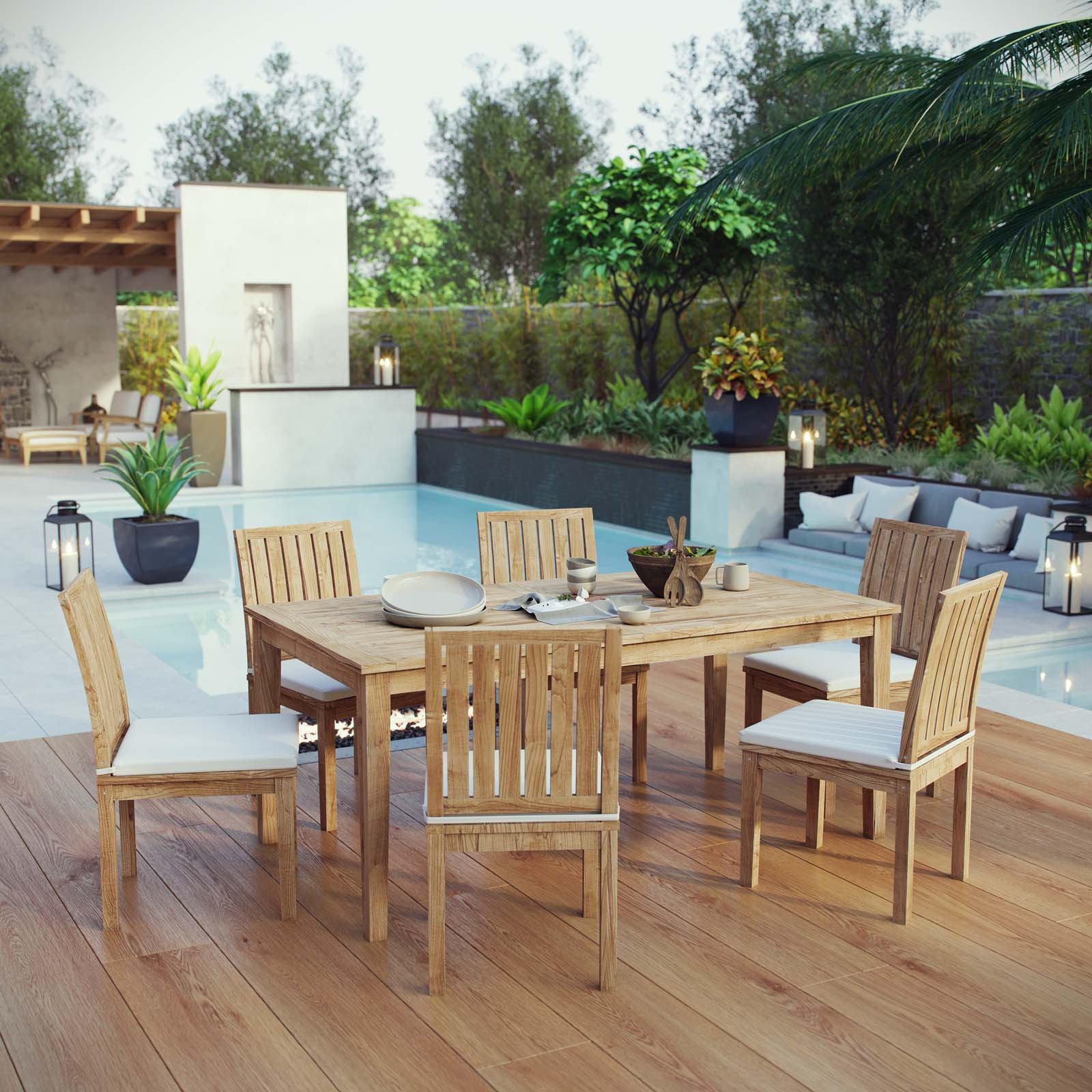 Modway Marina 7 Piece Outdoor Patio Teak Outdoor Dining Set in Natural White - Walmart.com ...