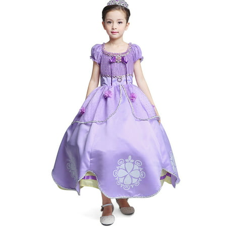 Princess Sofia Dress Up Costume Cosplay Dress for Girls
