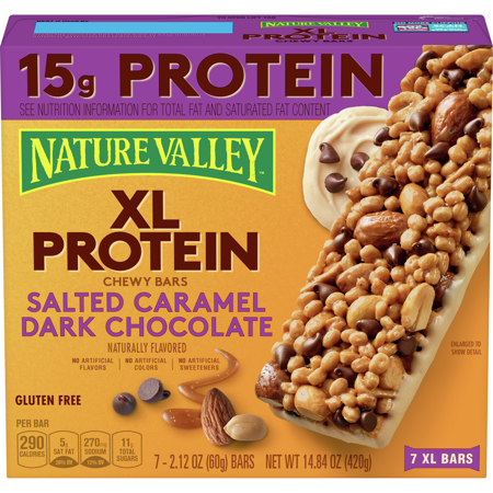 Nature Valley 15g XL Protein Chewy Granola Bars, Salted Caramel Dark Chocolate 7 Ct, 14.84 Oz