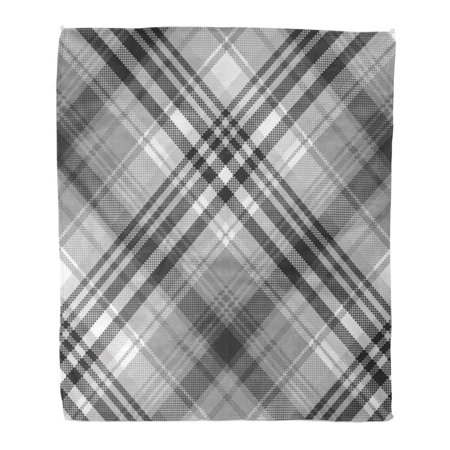 KDAGR Throw Blanket Warm Cozy Print Flannel Pattern Gray Black White Pixel Check Plaid Tartan Comfortable Soft for Bed Sofa and Couch 58x80 Inches Black White Plaid Check Flannel