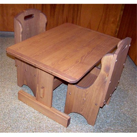 THE PUZZLE-MAN TOYS W-2404 Children's Wooden Play Furniture - Trestle Table Plus (2) Chairs - 8 inch Seat Height (Wooden Play Table)
