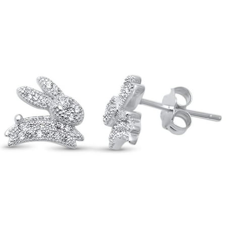 Micro Pave Clear Cubic Zirconia Bunny Rabbit Earrings Sterling Silver