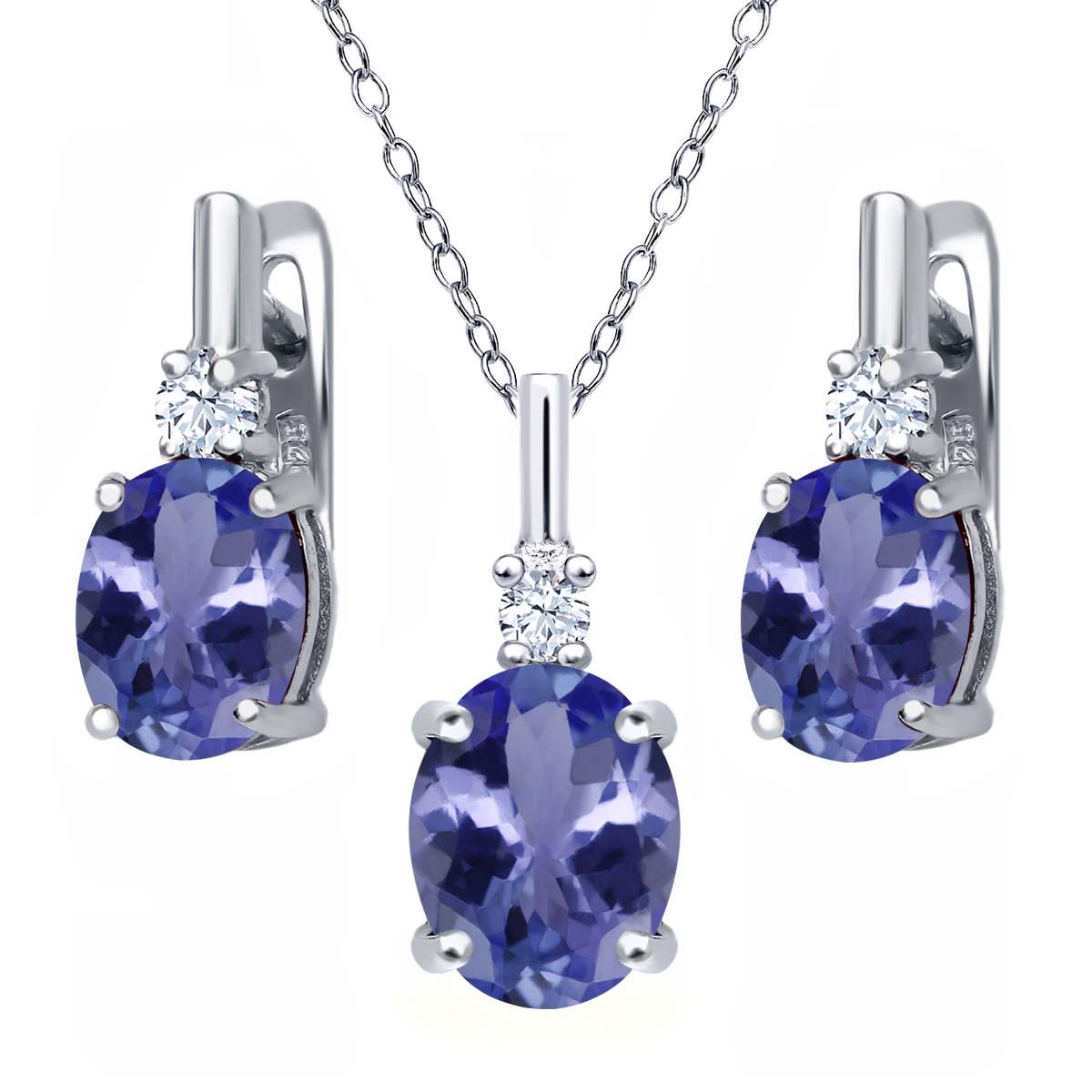 5.18 Ct Blue Tanzanite AAA White Topaz 925 Sterling Silver Pendant Earrings Set by