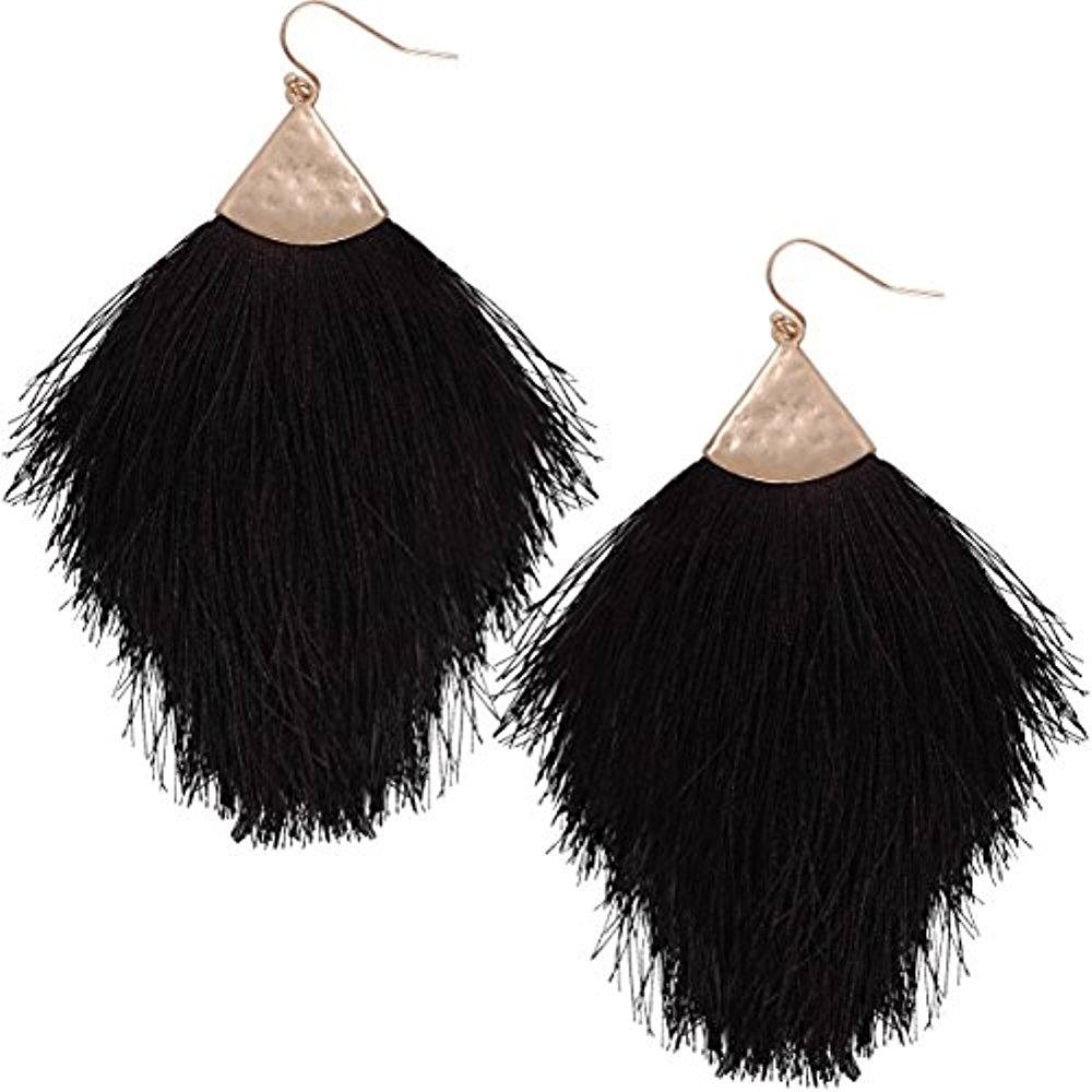 Fringe Tassel Statement Dangle Earrings - Lightweight Long Feather Drops, Black - Fringe, Jet Black, Gold-Tone