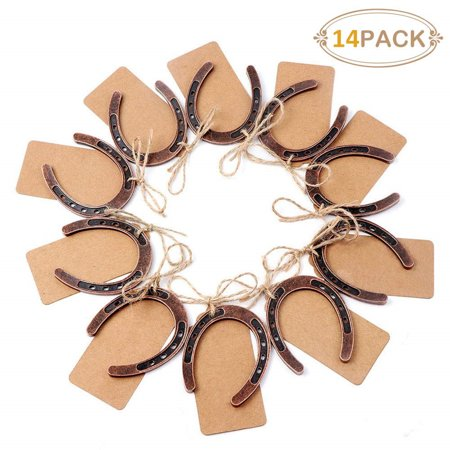 14pcs Good Lucky Horseshoe Wedding Favors for Guests Rustic Horseshoes Gift Tags with String Vintage Wedding Decorations Party Favors Luggage Tag Wedding Favors