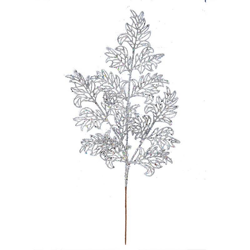 "22"" White Glit Lace Holly Lf Spray 12/Bg"