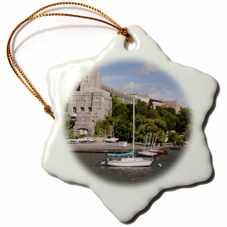3dRose New York, West Point Academy. Army Military collage, Hudson River., Snowflake Ornament, Porcelain, 3-inch Hudson River West Point