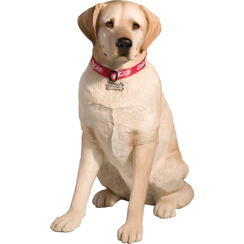"Sandicast ""Life Size Large"" Sitting Yellow Labrador Retriever Dog Sculpture"