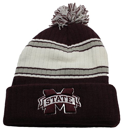 NCAA Team Color Premium Adult Cuff Knit Pom Beanie Hat Cap (Mississippi State Bulldogs)