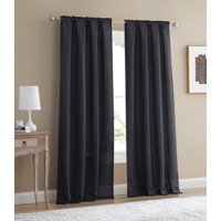 Mainstays Bennett Textured Curtain, Black 84 inch, Set of (2)