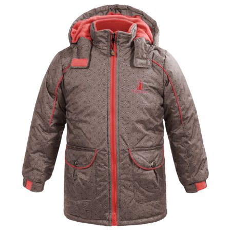 Rugged Bear New Brown S Size 4 Printed Front Zip Hooded Snow Jacket Com