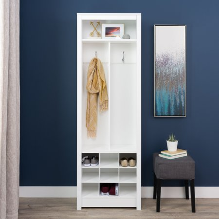 Entry Organizer - Prepac Space-Saving Entryway Organizer with Shoe Storage, White