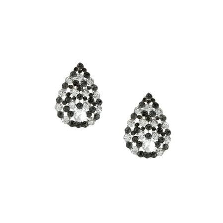 Silver Black Diamond Rhinestone Pave Pear Teardrop Shaped Stud Earrings