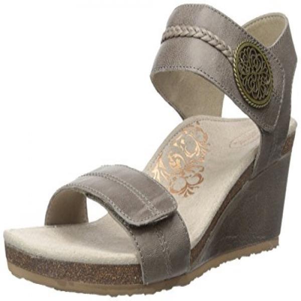Aetrex Women's Arielle ADJ Strap Wedge Sandal, Stone, 39 EU 8.5 M US by