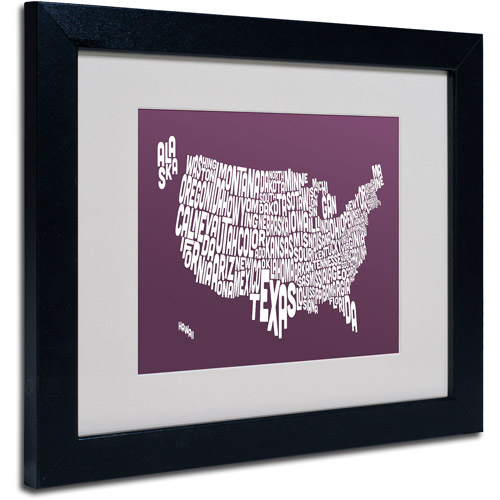 "Trademark Fine Art ""MULBERRY-USA States Text Map"" Framed by Michael Tompsett"