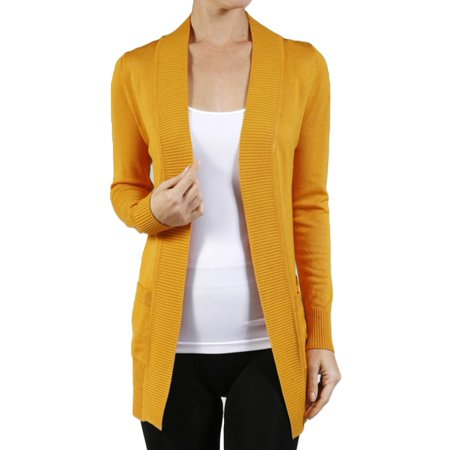 SNJ - Women s Long Sleeve Knit Rib Open Front Solid Sweater Cardigan-Plus  Size Available (FAST   FREE SHIPPING) - Walmart.com ffb6cb3d7