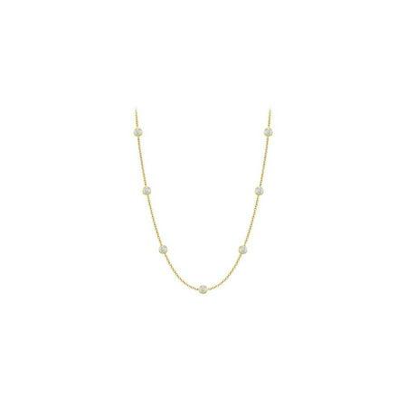 LoveBrightJewelry Diamonds By The Yard Necklace in 14K Yellow Gold Bezel Set 0.10 ct.tw 14k Yellow Bezel Set