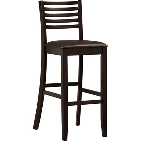 Linon Triena Collection High Ladder Bar Stool, Espresso, 30 inch Seat Height