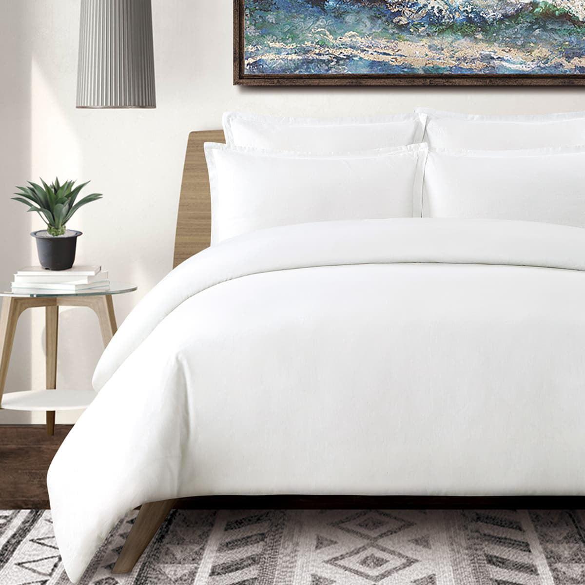 Echelon Home Washed Linen Cotton Blend Duvet Cover Set Walmart Com Walmart Com