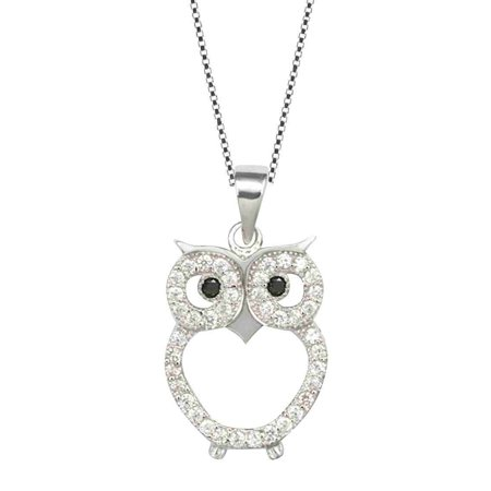 - Sterling Silver Owl Pendant Chain Womens Jewelry Necklace (18 Inch)