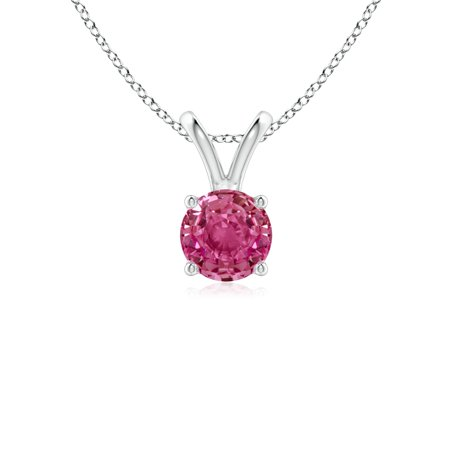 White Gold Pink Sapphire Pendant - September Birthstone Necklace - V-Bale Round Pink Sapphire Solitaire Pendant in 14K White Gold (5mm Pink Sapphire) - SP0531PS-WG-AAAA-5
