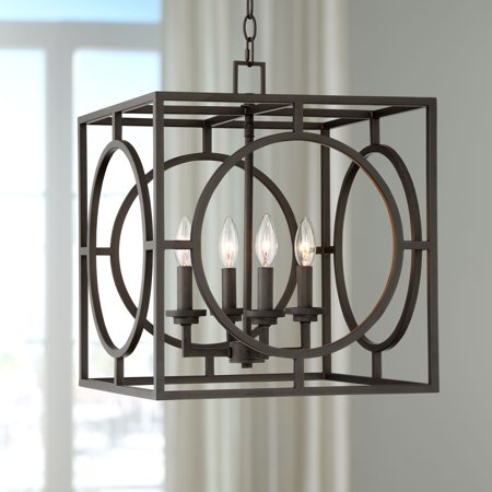 "Franklin Iron Works Bronze Cage Foyer Pendant Chandelier 16"" Wide Rustic Farmhouse 4-Light Fixture for Dining Room House Entryway"