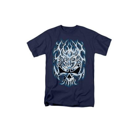 flaming chrome skull design adult t-shirt tee