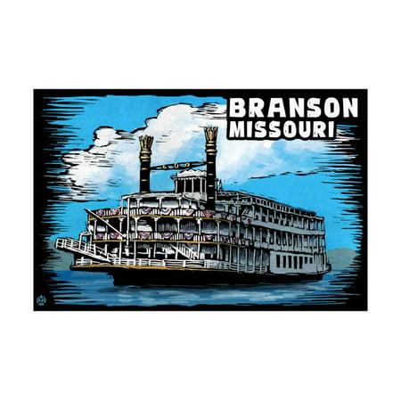 Paddle Wheeler - Branson, Missouri - Paddle Wheeler Scratchboard Print Wall Art By Lantern Press