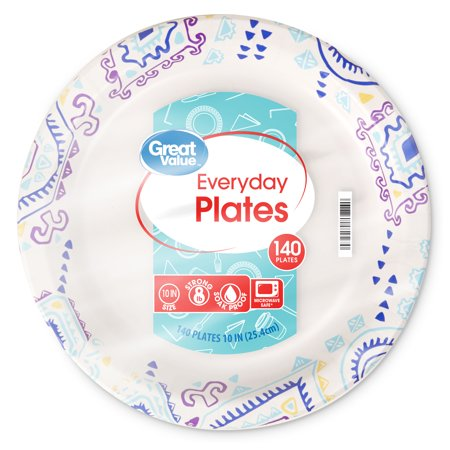 "Great Value Everyday Paper Plates, 10"", 140 Count"