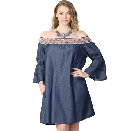 TheMogan Junior's Plus Tiered Sleeve Off The Shoulder Chambray Shift Dress