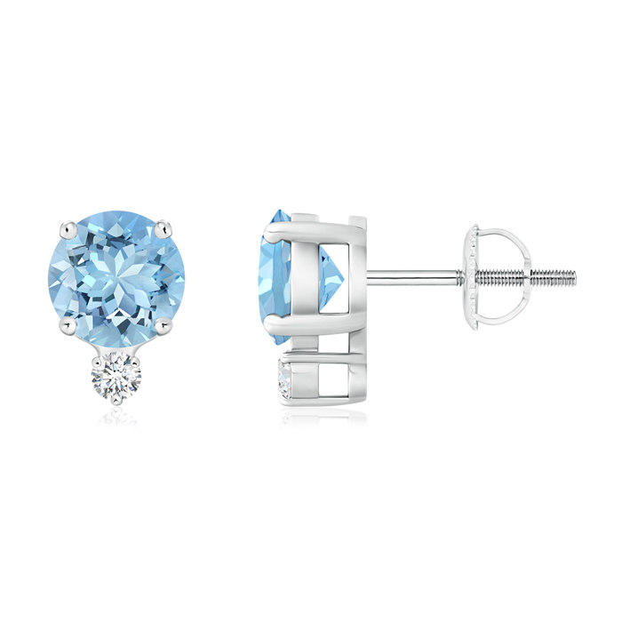 Angara Basket Setting Round Diamond Stud Earrings in Platinum iYRmRKpGY