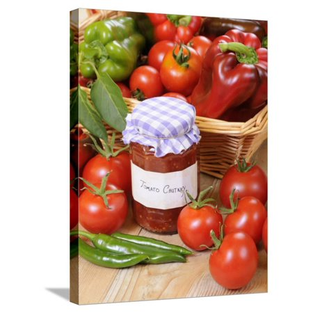 Country Kitchen Scene with Home Made Chutney and Ingredients - Tomatoes and Peppers, UK Stretched Canvas Print Wall Art By Gary Smith