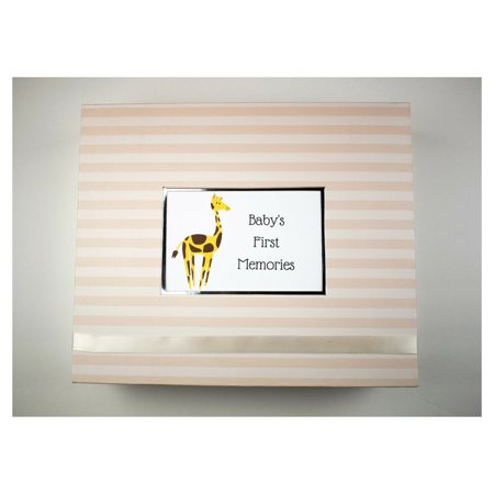 Giraffe Baby Keepsake Box Giraffe Baby Keepsake BoxOur new Giraffe Baby Keepsake Box is the perfect addition to any nursery! Ecru is back with a brand new look. Luxury paper with a new ribbon enclosure are just some of the new features that this box offers. This box is the place to put all babies first things  First shoes, outfit, pictures etc. They all fit in this box! We designed it with you in mind. Complete the look with the matching scrapbook!Other new features:4x6 Standard PhotoSilver LiningRibbon EnclosureLarger Room for Personalization