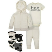 Gerber Baby Boy Organic Hooded Cardigan, Bodysuit, Pants & Wiggle-Proof Socks Set, 7-Piece