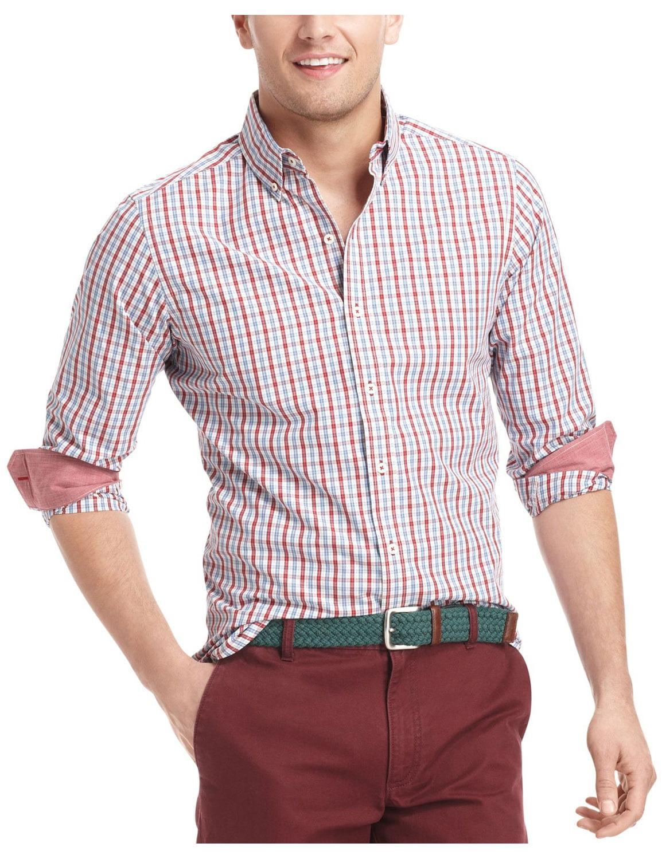 Izod Izod Mens Slim Fit Essential Rio Red Cotton Long Sleeve