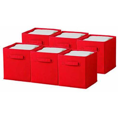 (Sorbus Foldable Storage Cube Basket Bin, 6pk, Red)