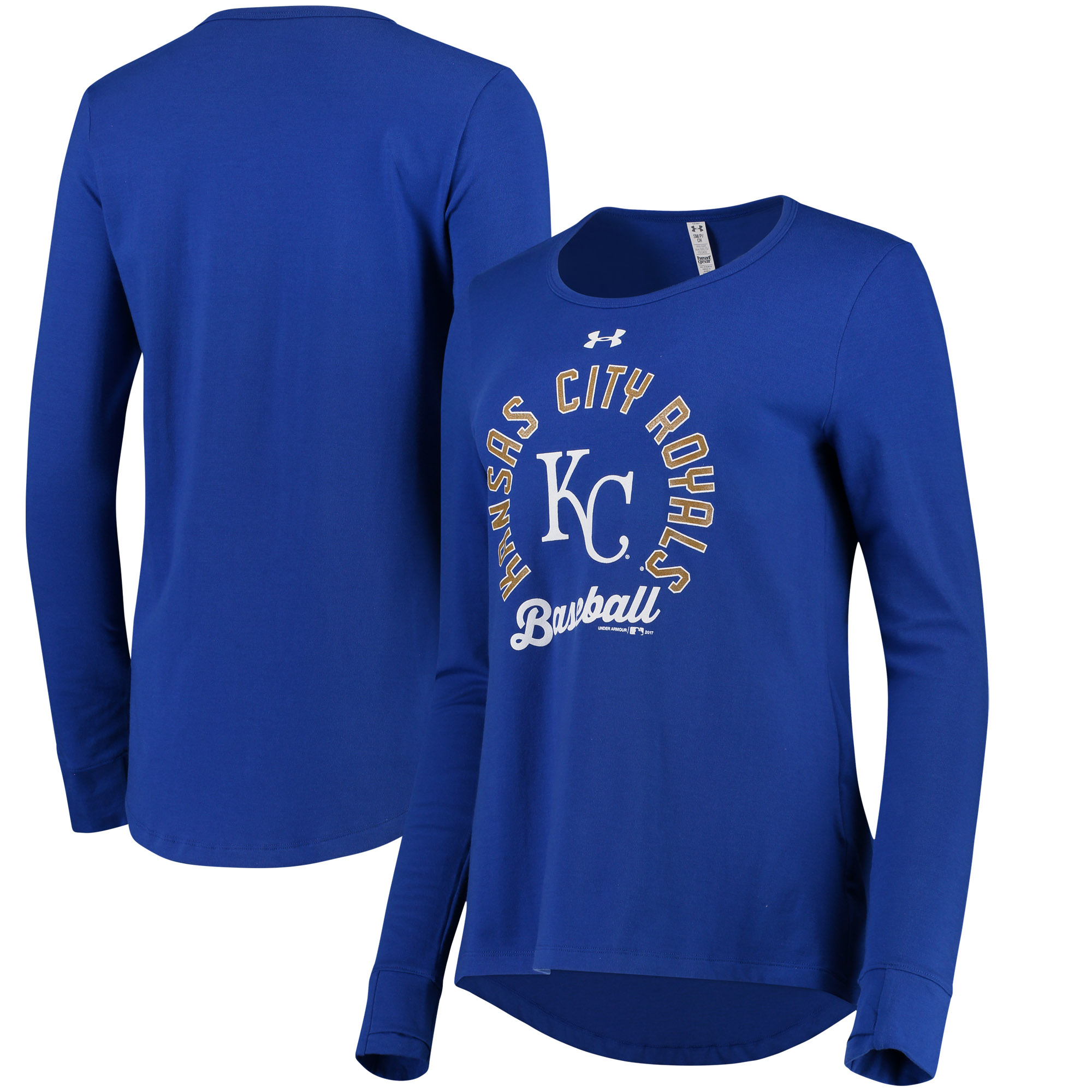 Kansas City Royals Under Armour Women's Charged Performance Long Sleeve Tri-Blend T-Shirt - Royal