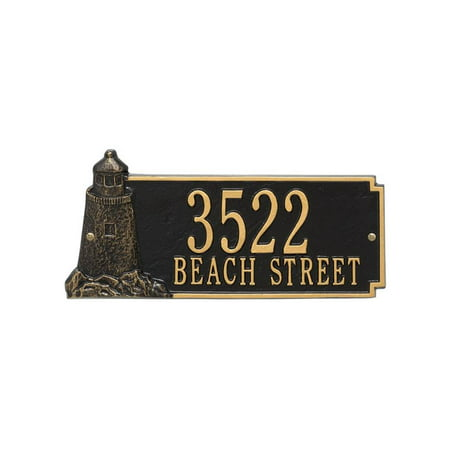 15 in. Lighthouse Standard Address Wall Plaque in Gold and Black
