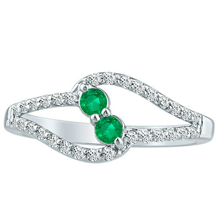 Emerald & Natural Diamond Round Cut Forever Twist Ring 10k White Gold 1.00